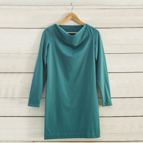 Robe col bénitier turquoise