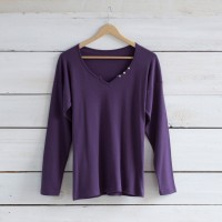 Tee- shirt encolure coeur ML violet