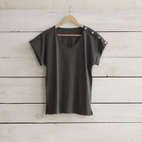 Tee-shirt col V MC gris carbone